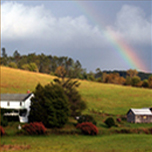 bed and breakfast with rainbow in background